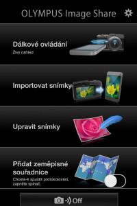 Funkce aplikace Olympus Image Share jsou přehledně seřazeny.