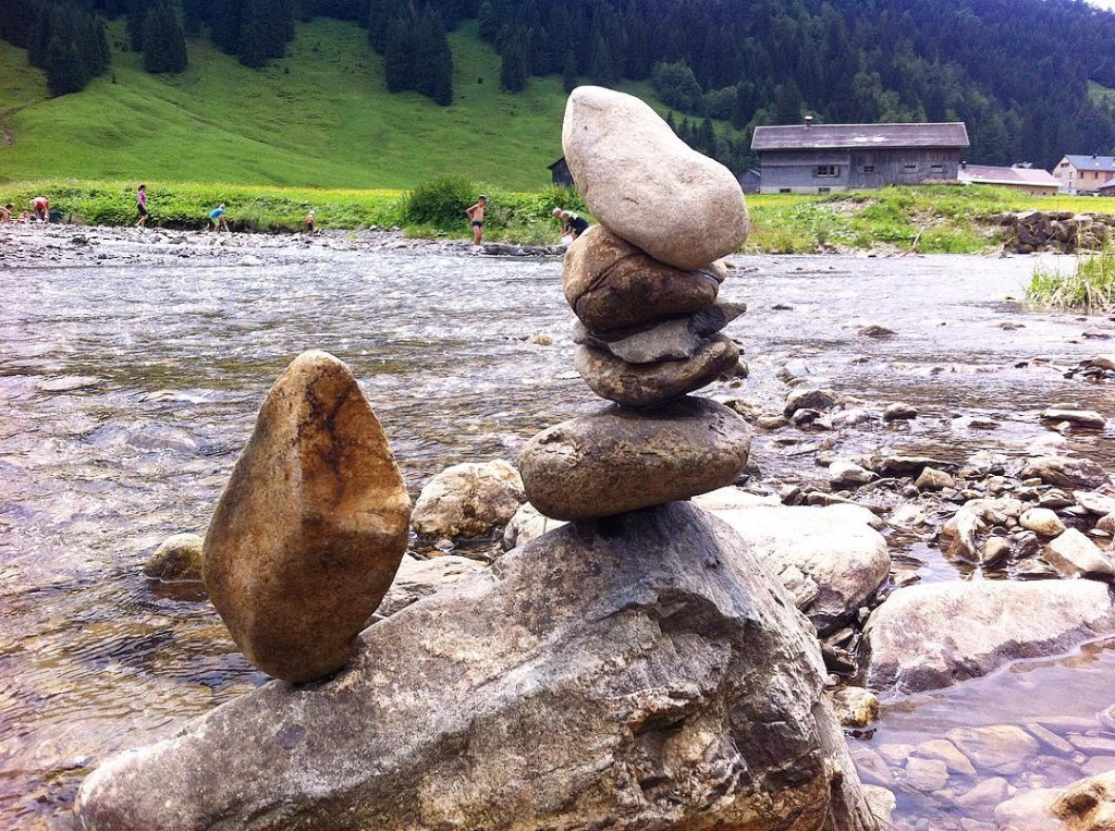 My first balanced stone in mountain river in the pkacehellip
