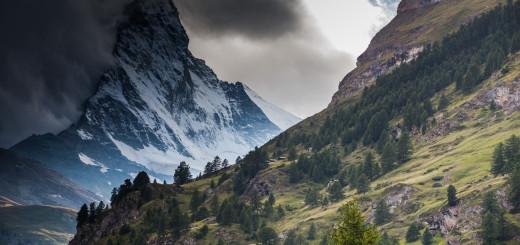 Matterhorn peak in clouds.