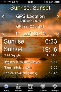 Informace o východu a západu slunce...
