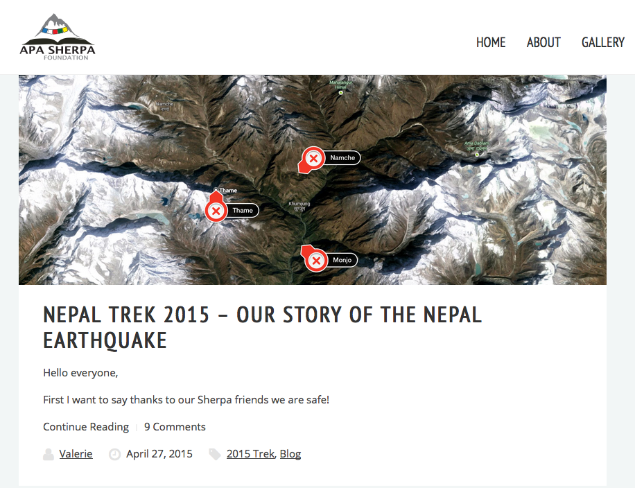 Post on Apa Sherpa Foundation blog two days after a huge earthquake looks like this.