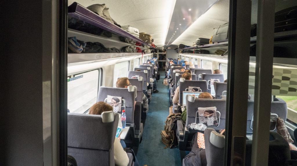 Interiér 1. třídy v TGV.